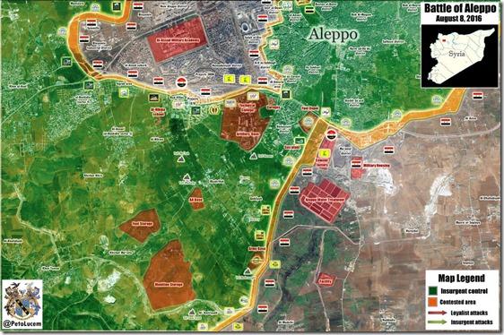 Aleppo - 77 - Zuidwesten - Militaire situatie  - 8 augustus 2016