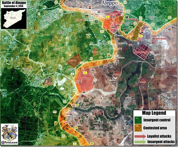 Aleppo - 81 - Zuidwesten Detail - Militaire situatie  - 3 september 2016