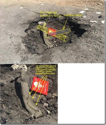 Khan Sheikhoun - gifgasaanval 4 april 2017 - Raket met sarin en krater