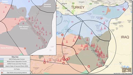 Deir Ezzor - Militaire situatie - olievelden  17-09-2017