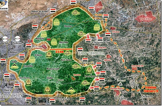 Oost-Ghouta - Militaire situatie - 23 - 4 maart - 2018