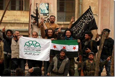 Jihadisten tesamen met vlaggen
