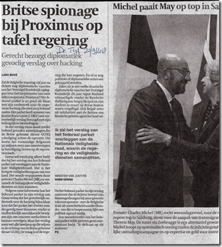 Proximus - Britse spionage - Lars Bove - De Tijd - 20-09-2018