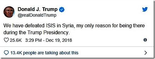 Trump - Tweet terugtrekking Amerikaanse troepen - 19 december 2018