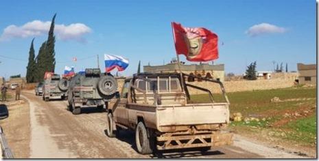 Manbij - Patrouille Rusland en Manbij Militaire Raad - 9 januari 2018