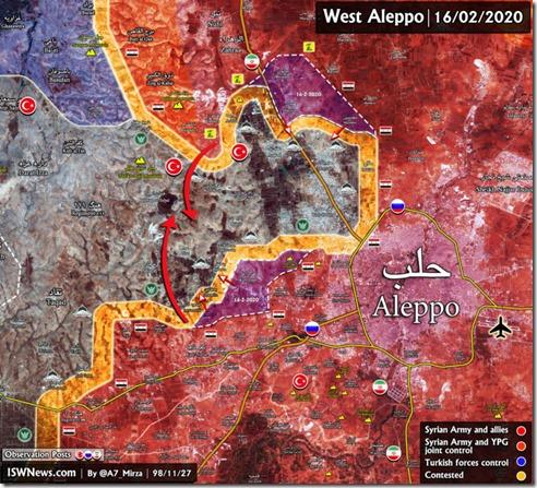 Aleppo - Noord - Militaire situatie - 16-02-2020
