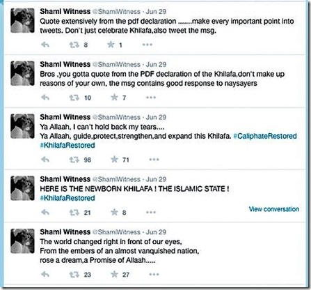 Shami Witness - blijdschap over Islamic-State-Khilafa-tweets