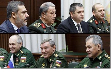 Turkse en Russische militairen - Maart 2020
