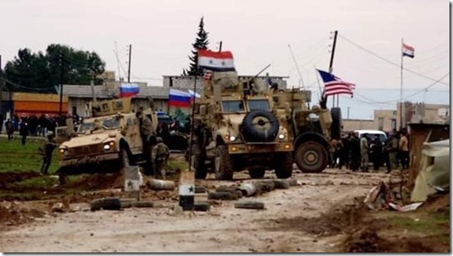 Amerikaanse, Russische en Syrische pantserwagens in Khirbat Omar, Qamishli - 12 februari 2020