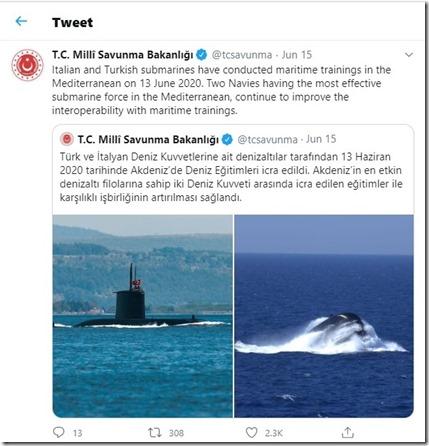 Italiaans-Turkse militaire oefeningen - Tweet