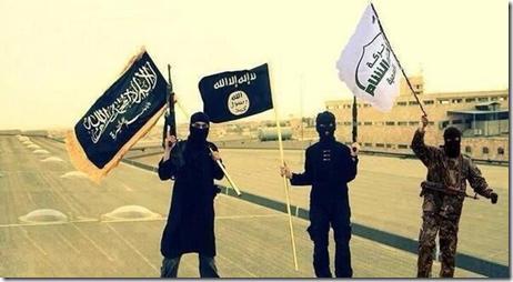 ISIS broederlijk met al Qaeda & Ahrar al Sham samen met hun vlaggen