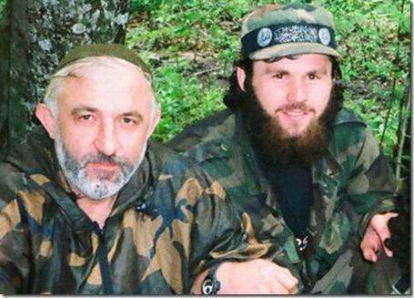 Zilimkan Khangosvili 'rechts) en Aslan Maskhadov