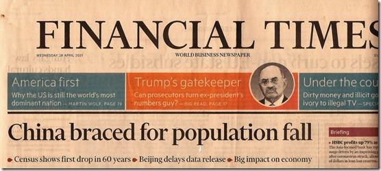 Financial Times over daling bevolking China - 28 april 2021
