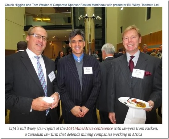 William Willey - Tsamota-CIJA - met Fasken Martineau, advocatenbureau mijnbouw. Chuck Higgins (l) en Tom Wexler (m)
