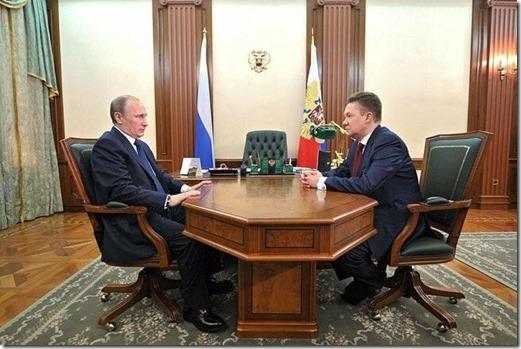 Vladimir Poetin en Alexei Miller, CEO van Gazprom